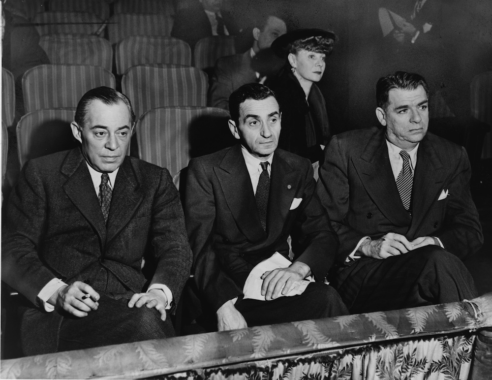 Click photo to download. Caption: Left to right, Richard Rodgers, Irving Berlin, Oscar Hammerstein II, and Helen Tamiris (back), watching hopefuls who are being auditioned on stage of the St. James Theatre in 1948. Credit: Library of Congress.