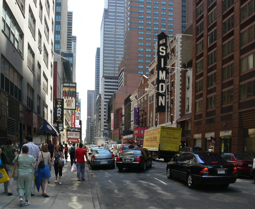 Click photo to download. Caption: The Neil Simon Theatre on 52nd Street in Manhattan. Credit: Andreas Praefcke.