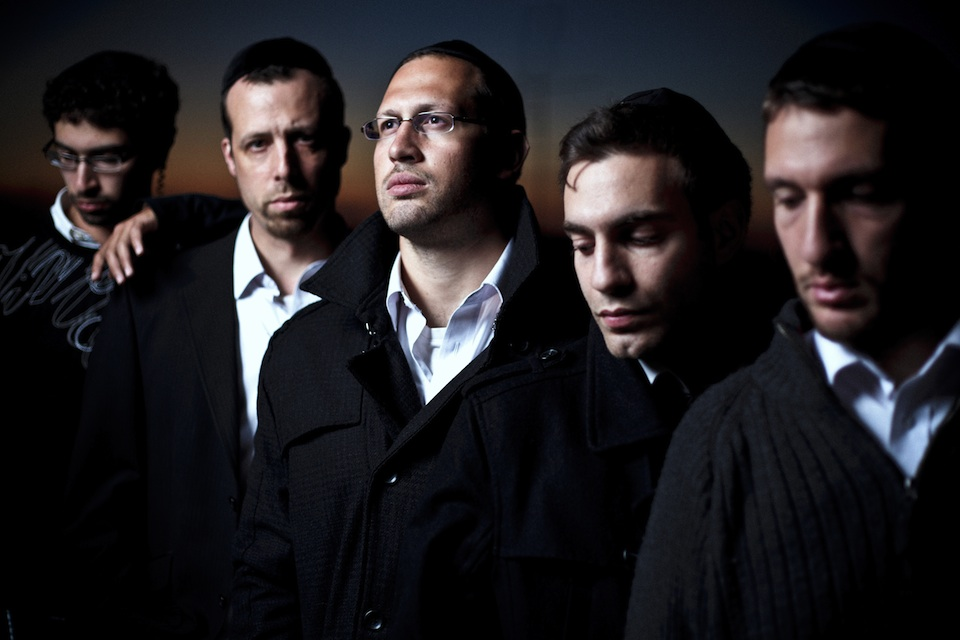 Click photo to download. Caption: The men of the haredi hip hop band Shtar, from left to right: Tzvi Solomons, Brad Rubinstein, Ori Murray, Dan Isaac and Avi Sommers. Credit: Courtesy Shtar.