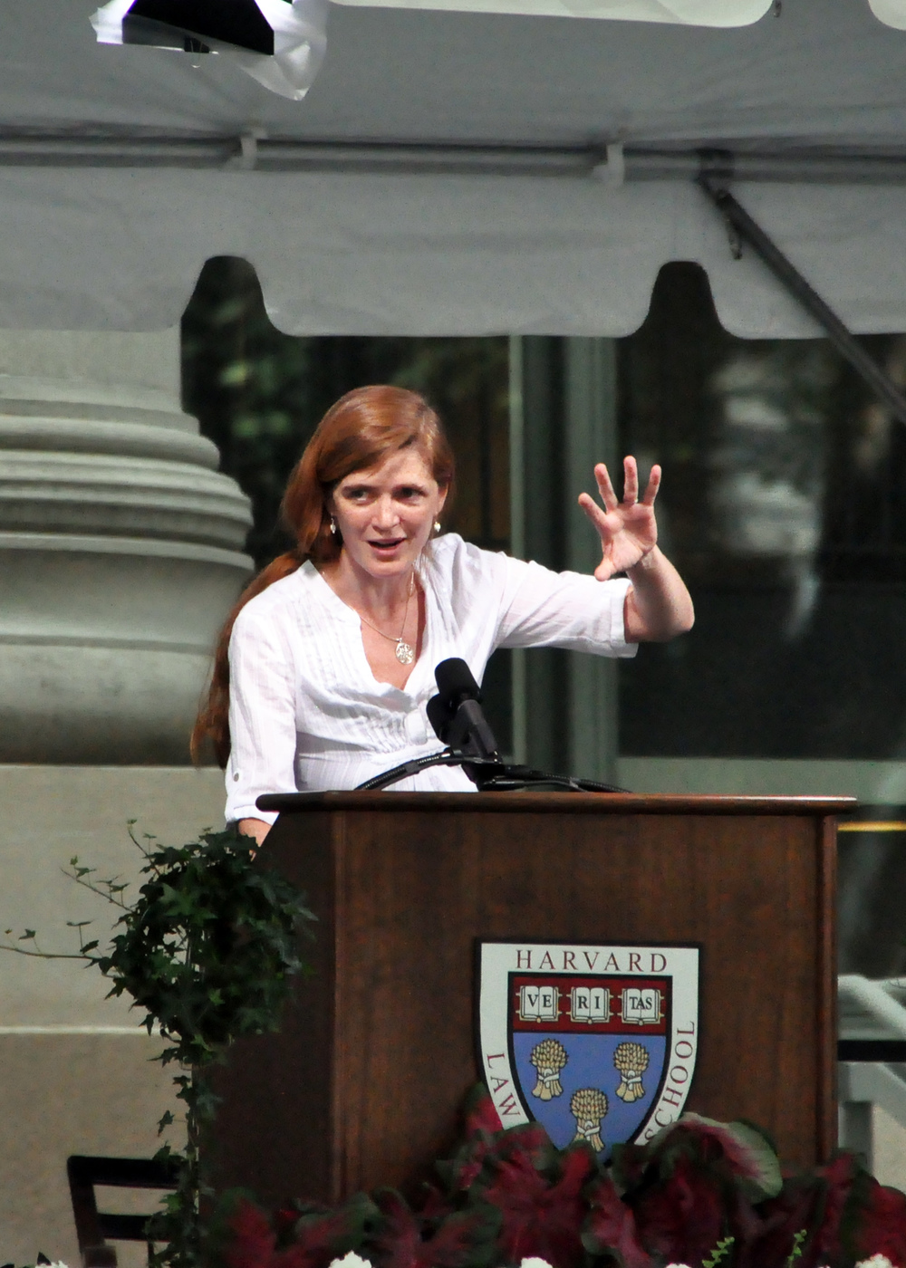 Click photo to download. Samantha Power speaks at Harvard Law School in 2010. Credit: Chensiyuan/Wikimedia Commons.