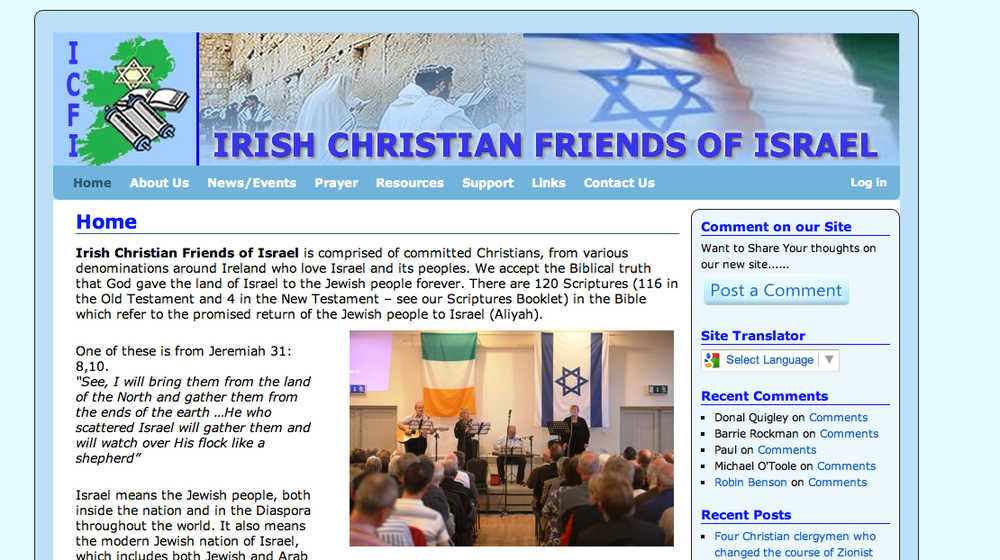 The Irish Christian Friends of Israel website's homepage. Credit: Irish Christians Friends of Israel.