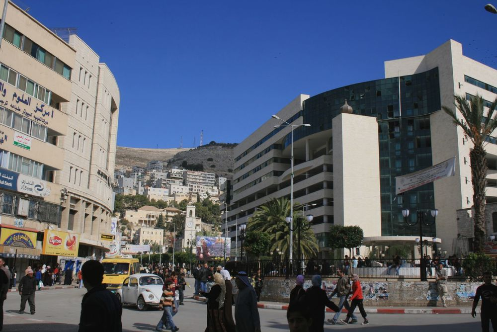"""Martyrs square"" in downtown Nablus. Credit: Wikimedia Commons."