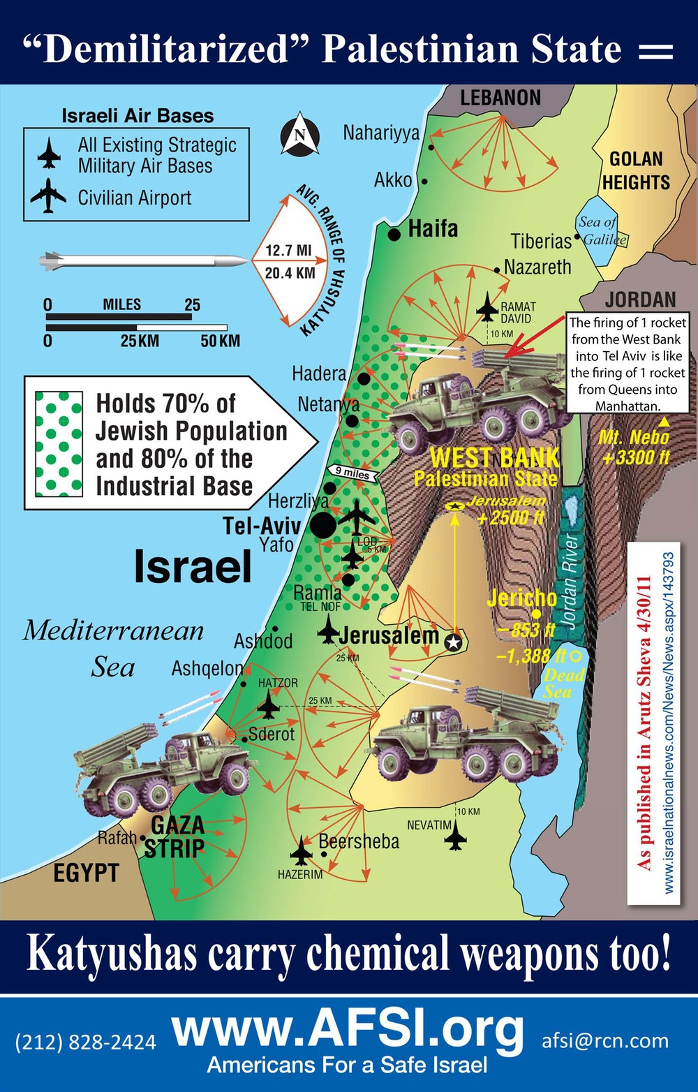 Click photo to download. Caption: A Middle East map designed by Mark Langfan that depicts major Palestinian rocket-launching sites. Credit: Courtesy Mark Langfan.