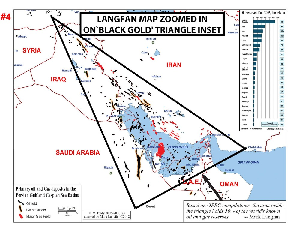 """Click photo to download. Caption: Mark Langfan's map depicting what he calls the """"Black Gold Triangle""""—the oil-rich strip along the east and west coasts of the Persian Gulf. Credit: Courtesy Mark Langfan."""