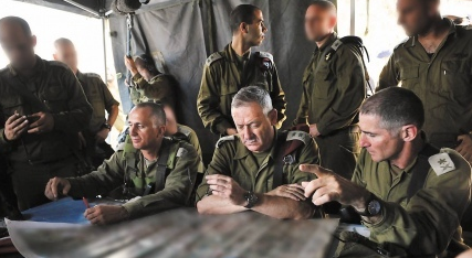 IDF Chief of General Staff Lt. Gen. Benny Gantz (center) with IDF officers during the IDF's surprise counter-terrorism drill on Sunday . Credit: IDF Spokesperson.