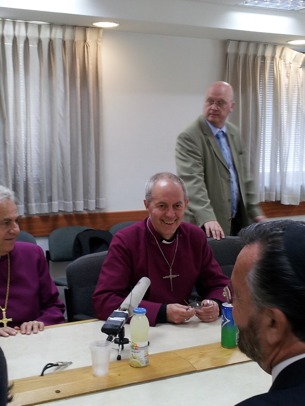 Click photo to download. Caption: Justin Welby (sitting in center), the Archbishop of Canterbury, at a press conference at the Israeli Chief Rabbinate in Jerusalem during his visit to Israel on Thursday. Credit: Rachel Marder.