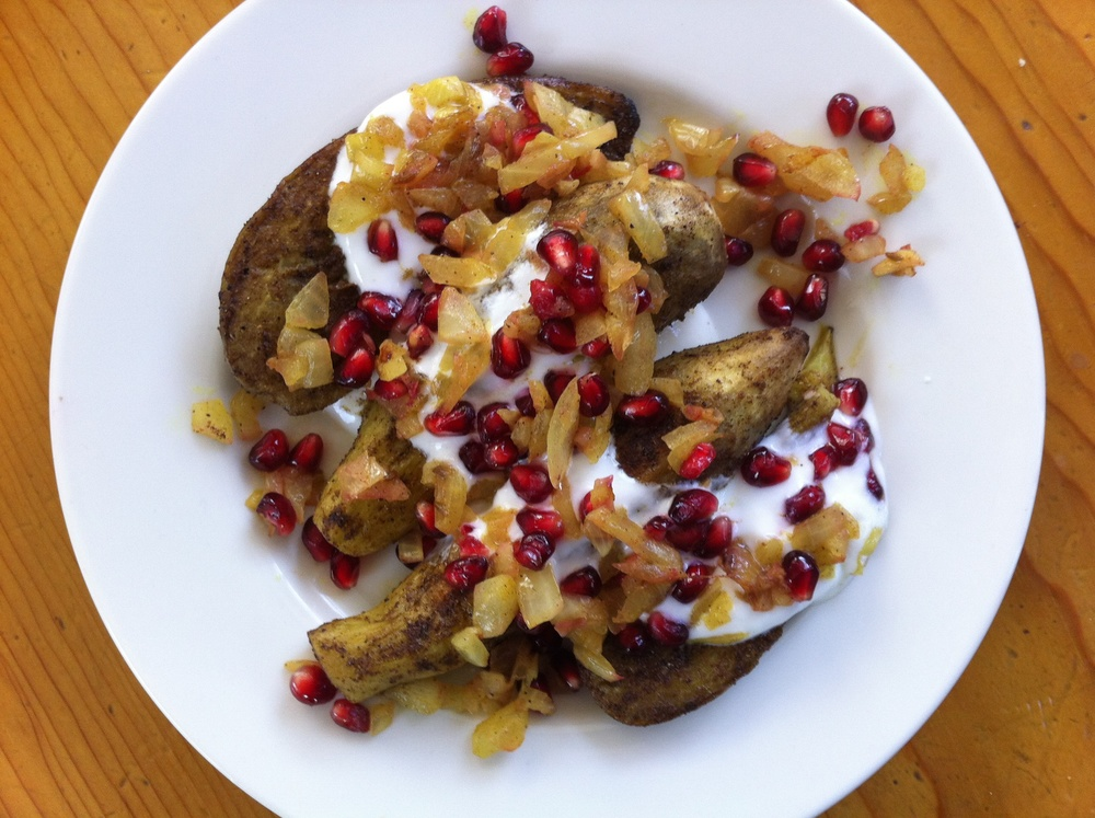 Click photo to download. Caption: Curried eggplant slap-down with yogurt, onion relish, and pomegranate, by chef Mollie Katzen. Credit: Mollie Katzen.