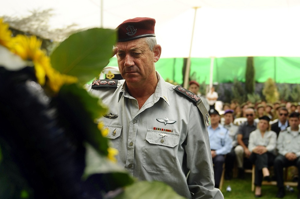 Click photo to download. Caption: The Israel Defense Forces salutes Yom Kippur War heroes at an official annual memorial service for fallen soldiers on Oct. 9, 2011. Pictured is IDF Chief of Staff Lt. Gen. Benny Gantz. Credit: Sgt. Ori Shifrin, IDF Spokesperson's Unit.