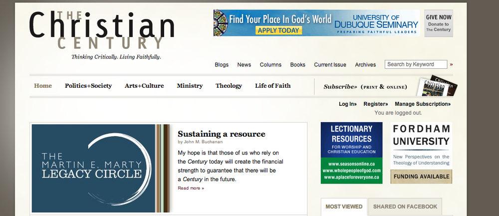 "The homepage of ""The Christian Century"" magazine's website. Credit: The Christian Century."