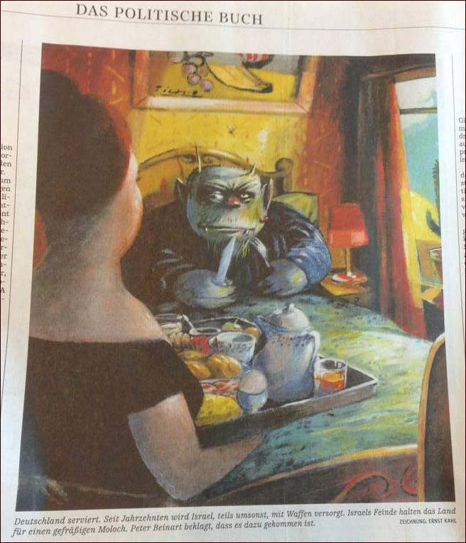 Click photo to download. Caption: Munich's Süddeutsche Zeitung ran this cartoon depicting Israel as a monster which critics call anti-Semitic. Credit: The Simon Wiesenthal Center.