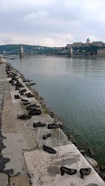 Click photo to download. Caption: A memorial to Hungarian victims of the Holocaust on the shore of Danube in Budapest. Credit: Wikimedia Commons.