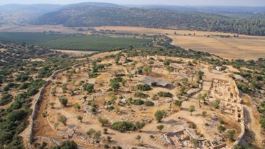 The Khirbet Qeiyafa ruins, believed to be remnants of King David's palace. Credit: Hebrew University of Jerusalem, the Israel Antiquities Authorities and Skyview.
