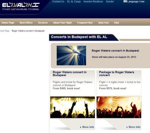 A promotional package on the EL Al website for an August concert by Pink Floyd member and BDS activist Roger Waters. El Al said it canceled the package and removed it from its website when it learned of the matter on Wednesday. Credit: Screen shot.