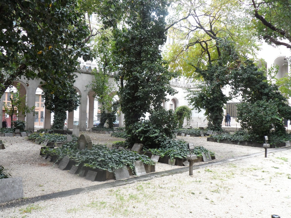 Click photo to download. Caption: A mass Jewish grave at the Dohany Synagogue in Budapest. Credit: Raphi Bloom.