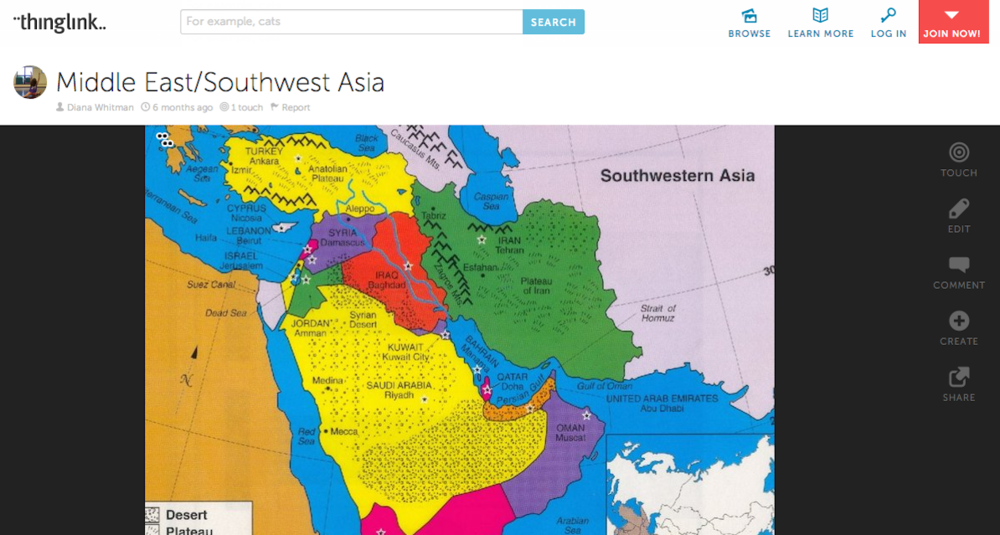 Click photo to download. Caption: An interactive map of the Middle East and Southwest Asia offered by ThingLink, which allows teachers to build a whole set of interactive multimedia experiences into a single image. ThingLink is among the latest cutting-edge online learning and social networking tools available for Jewish schools. Credit: ThingLink.