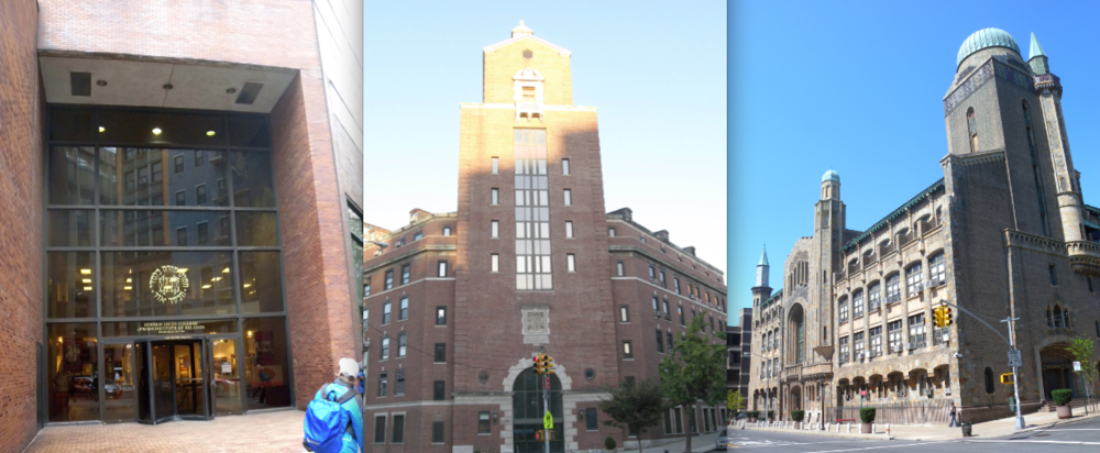Click photo to download. Caption: From left to right: Hebrew Union College, the Jewish Theological Seminary, and Yeshiva University, all in New York City. The institutions are all part of the new Jewish eLearning Faculty Fellowship. Credit: Jim Henderson via Wikimedia Commons.