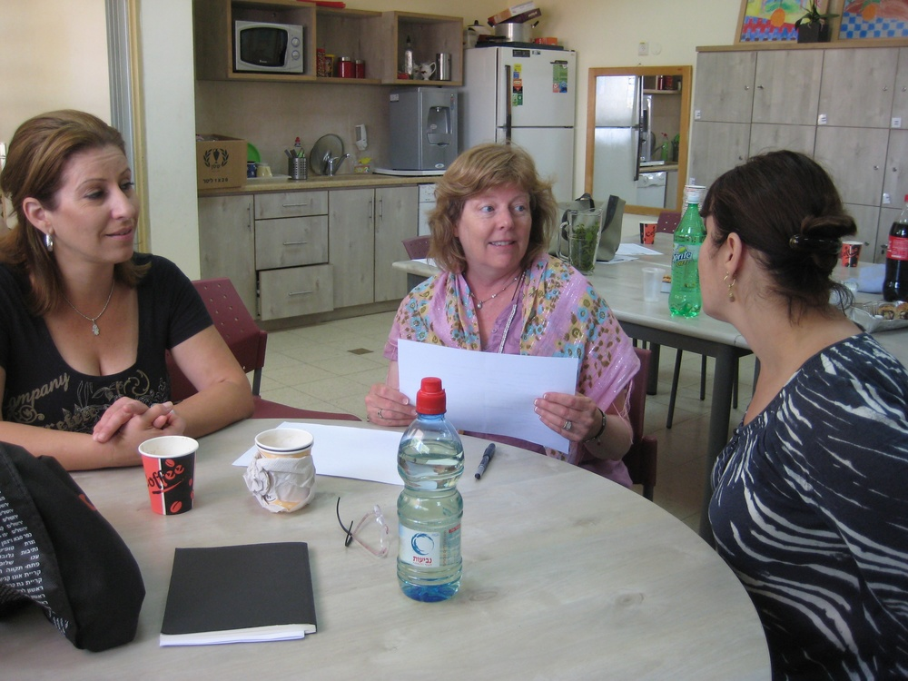 Click photo to download. Caption: Two teachers from the Gideon Hausner Jewish Day School in Palo Alto, Calif., plan a shared activity with an art teacher from the HaChita school in Zichron Yaakov, Israel. The two schools, in a study abroad twinning program, have exchanged students and teachers between Israel and the U.S. for joint training and hospitality experiences. The Gideon Hausner school was part of BASIS, a four-year Israel education initiative piloted in the Bay Area which just launched a new educational website. Credit: Courtesy Gideon Hausner Jewish Day School.