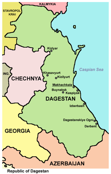 Click photo to download. Caption: The region of Dagestan on the map. Credit: Wikimedia Commons.