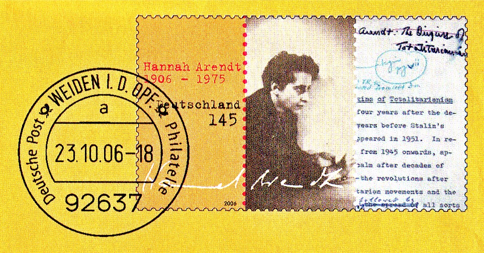 Click photo to download. Caption: The Hannah Arendt stamp, first issued in Germany in 2006. Credit: Deutsche Post AG via Wikimedia Commons.