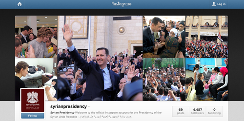 The new Instagram account of Syrian President Bashar al-Assad, who is seeking to boost his popularity amid the bloody Syrian civil war. Credit: Instagram.