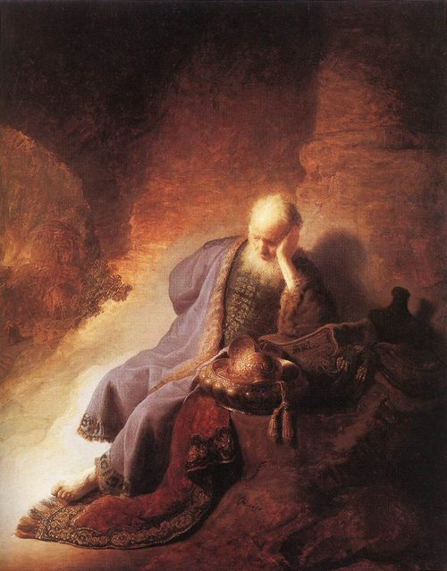 Click photo to download. Caption: Jeremiah lamenting the destruction of<br /> Jerusalem, by Rembrandt. Credit:  Rijksmuseum Amsterdam via Wikimedia<br /> Commons.