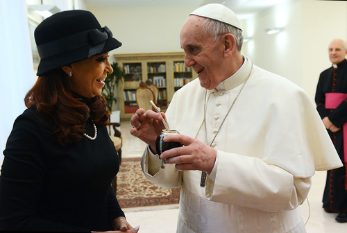 Click photo to download. Caption: Pope Francis I with Cristina Fernández de<br /><br /> Kirchner, president of Argentina, on March 18, 2013. Credit: Casa Rosada<br /><br /> via Wikimedia Commons.