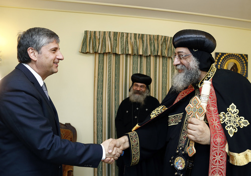 Click photo to download. Caption: Austrian politician Michael Spindelegger<br /><br /> with Pope Tawadros II of Egypt this June. Credit: Treffen mit<br /><br /> Papst-Patriarch Tawadros II.