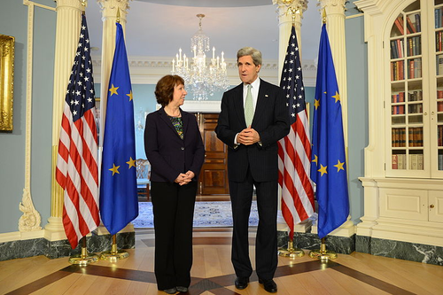 Secretary of State John Kerry with EU foreign policy chief Catherine Ashton  in February 2013. The U.S. quietly supported the EU's recent directive to  its members to boycott transactions with Israeli communities located beyond  the pre-1967 lines. Credit: State Department.