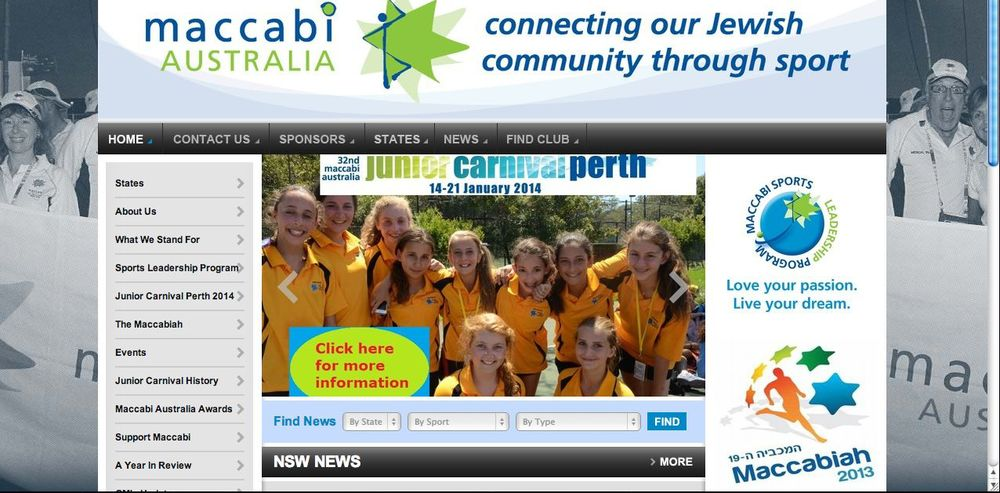 Screenshot of the Maccabi Australia's website.