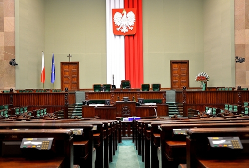 Click photo to download. Caption: The plenary hall of the Sejm, the lower<br /><br />house of the Polish parliament. The Sejm on July 12 rejected a<br /><br />reinstatement of the legality of religious slaughter. Credit: Boston9 via<br /><br />Wikimedia Commons.