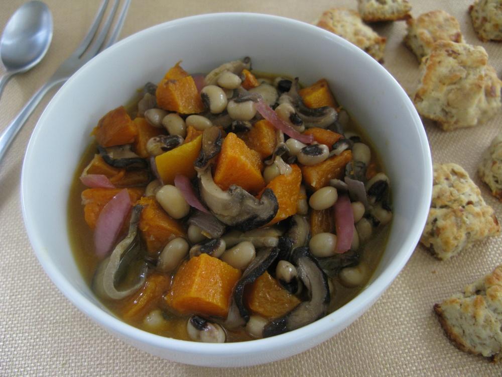 Click photo to download. Caption: Black-Eyed Pea, squash, and shiitake stew, a suggested Sukkot recipe by Mollie Katzen. Credit: Mollie Katzen.