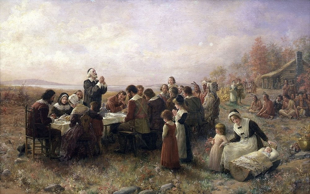 "Click photo to download. Caption: ""The First Thanksgiving at Plymouth,"" by Jennie A. Brownscombe. JNS.org examines whether Thanksgiving was shaped by Sukkot. Credit: Jennie Augusta Brownscombe via Wikimedia Commons."