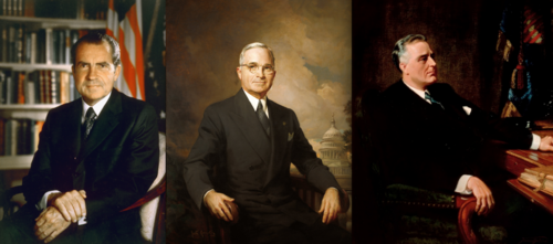 Click photo to download. Caption: From left to right, former U.S.<br /> presidents Richard M. Nixon, Harry Truman, and Franklin Delano Roosevelt.<br /> Credit: Hartmann, Greta Kempton and Frank O. Salisbury via Wikimedia<br /> Commons.