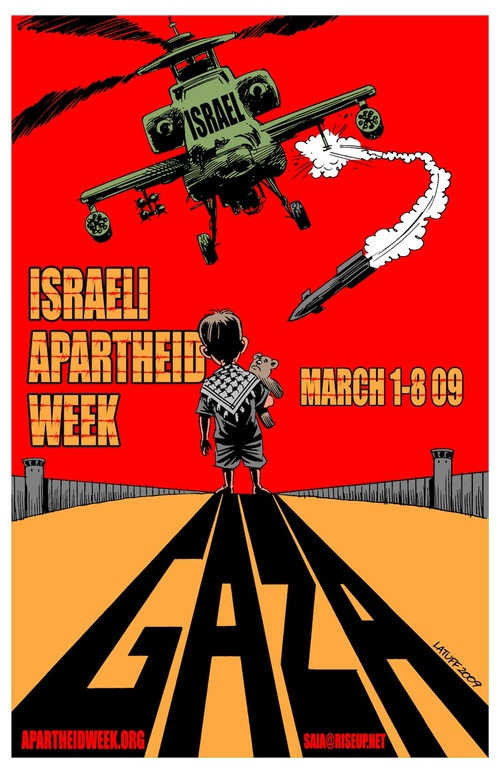 An Israel Apartheid Week poster. Two UC Berkeley students whose complaint was rejected by the Office for Civil Rights said Israel Apartheid Week created a hostile environment for Jewish students. Credit: Wikimedia Commons.