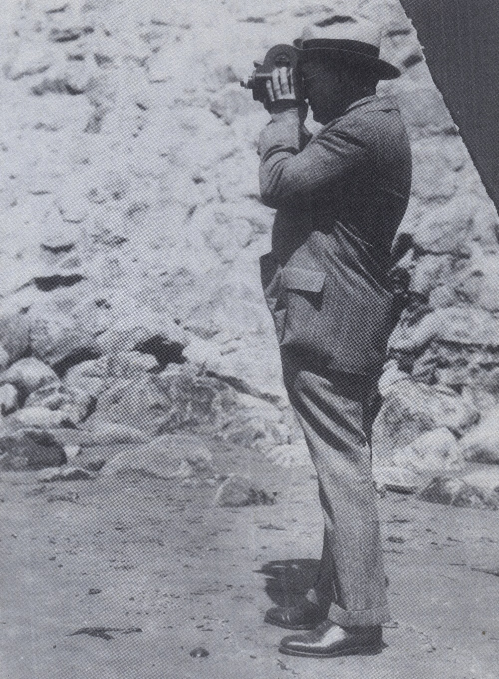Click photo to download. Caption: Isaiah Bowman surveying a site in Peru in 1941. Credit: Courtesy of The David S. Wyman Institute for Holocaust Studies.