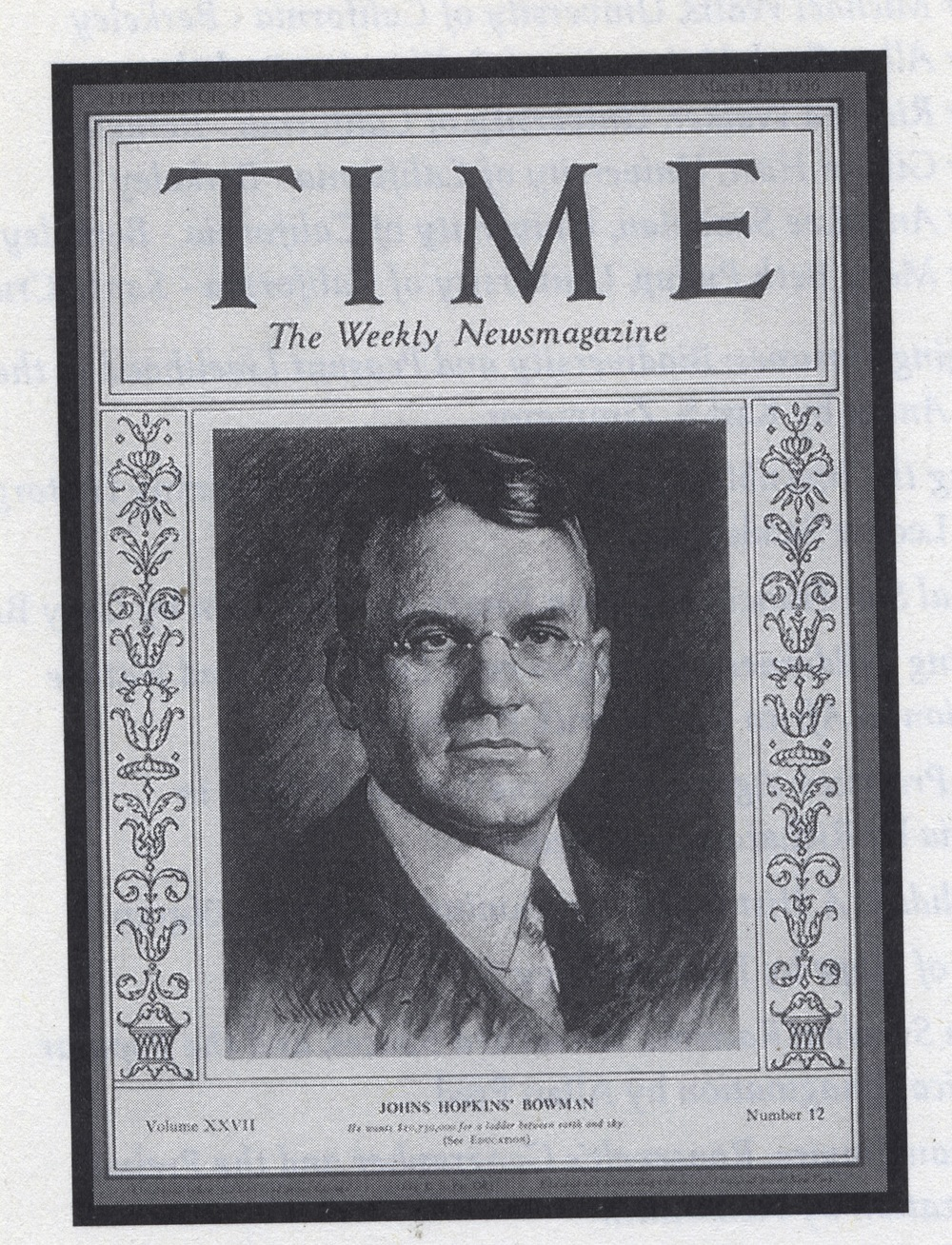 Click photo to download. Caption: Isaiah Bowman made the cover of Time magazine in 1936. Credit: Courtesy of The David S. Wyman Institute for Holocaust Studies.