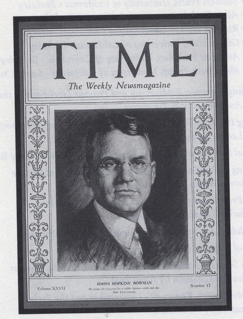 Click photo to download. Caption: Isaiah Bowman made the cover of Time<br /> magazine in 1936. Credit: Courtesy of The David S. Wyman Institute for<br /> Holocaust Studies.