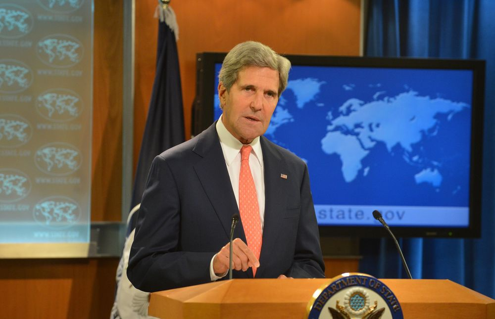 Click photo to download. Caption: U.S. Secretary of State John Kerry delivers remarks on Syria on Aug. 26, 2013. Since Kerry's remarks on the Bashar al-Assad regime's use of chemical weapons against its citizens, the debate on U.S. military intervention has persisted. The Obama Administration is now seeking the approval of Congress, which reconvenes Sept. 9. Credit: State Department.