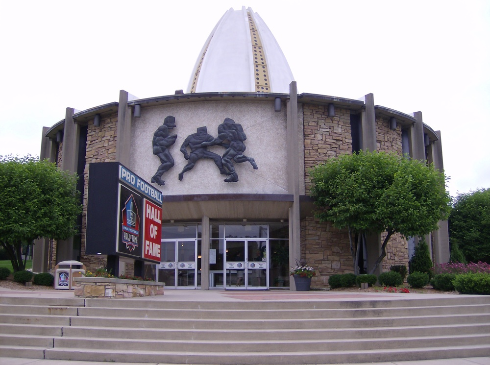 Click photo to download. Caption: The Pro Football Hall of Fame in Canton, Ohio, where Jewish NFL coaches Sid Gillman and Marv Levy are both enshrined. Credit: Coemgenus via Wikimedia Commons.
