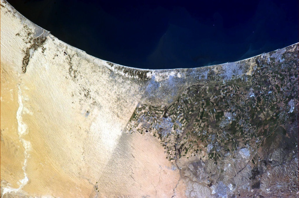 "Click photo to download. Caption: The border between Israel and Egypt as seen from the International Space Station. The ""pico-satellite"" developed by scientists at Ben-Gurion University will be Israel's ""eye on everything that's going on below"" as well as ""an important tool in the fight against terrorism,"" says Max Javit. Credit: NASA/Chris Hadfield."