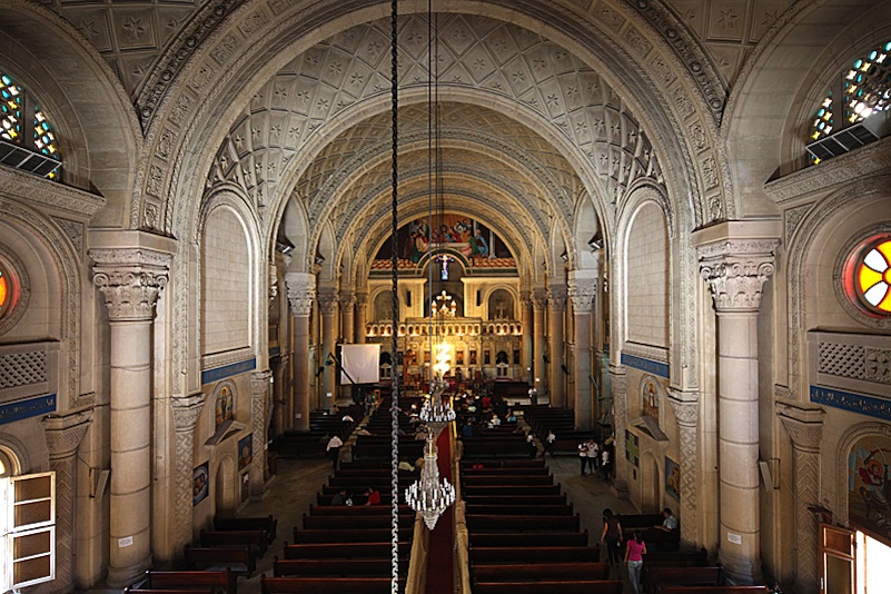Click photo to download. Caption: Inside the Coptic Christian St. Mark Cathedral in Alexandria, Egypt. The cathedral, considered to be Coptic Christianity's holiest site, was attacked by Islamic protestors in April. Credit: Roland Unger via Wikimedia Commons.