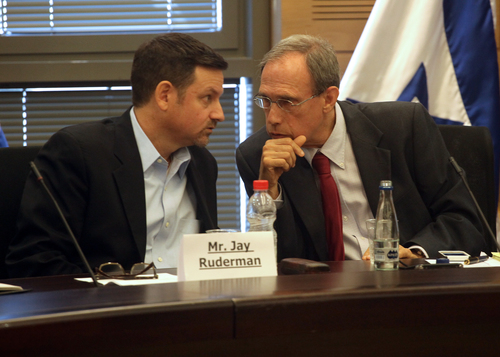 Click photo to download. Caption: Ruderman Family Foundation President Jay<br />Ruderman (left) and Member of Knesset Nachman Shai, a member of the Labor<br />party, are pictured on June 18, the day a new Israeli Knesset caucus was<br />launched with the goal of enhancing U.S.-Israel relations. Shai chairs the<br />caucus and partners with the Ruderman foundation on the initiative. Credit:<br />Yissachar Ruas.<br />