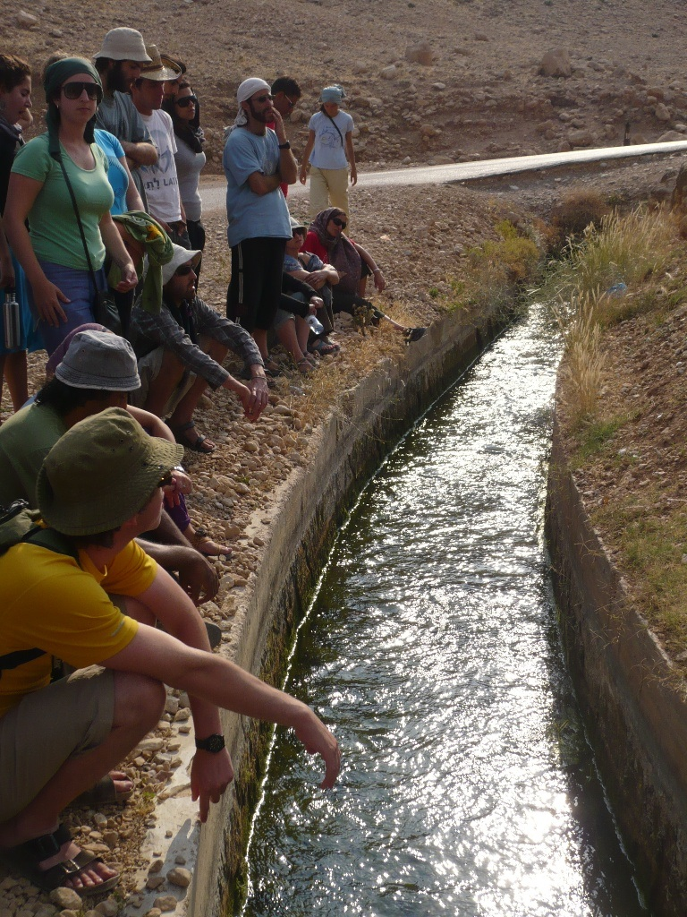 Click photo to download. Caption: Students from the Arava Institute for Environmental Studies, situated in the heart of Israel's Arava desert, at a stream. Credit: Arava Institute.