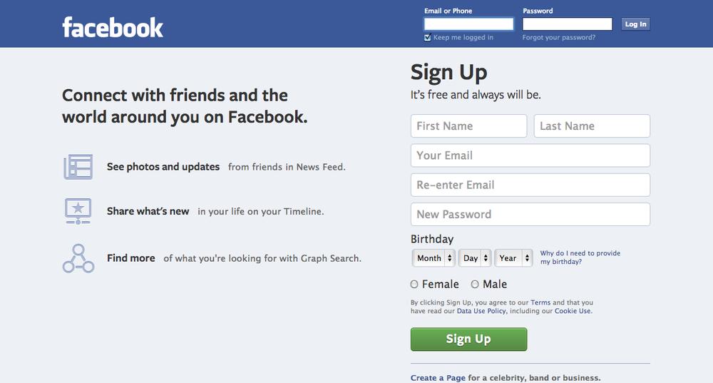 The Facebook homepage. Credit: Facebook.