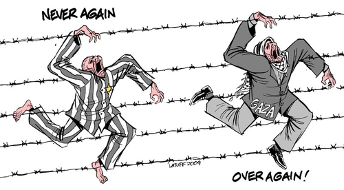 """Belgianteaching material includes cartoons like this one, """"Never Again, Over Again"""" from political cartoonist Carlos Latuff, who is known for anti-Semitic, pro-Palestinian motifs in his artwork. Credit: Carlos Latuff."""
