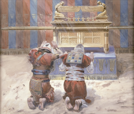 An illustration ofMoses and Joshua in the Tabernacle, bowing before the Ark of the Covenant, c. 1896-1902, by James Jacques Joseph Tissot (French, 1836-1902), at the Jewish Museum, New York. Credit: James Tissot via Wikimedia Commons.