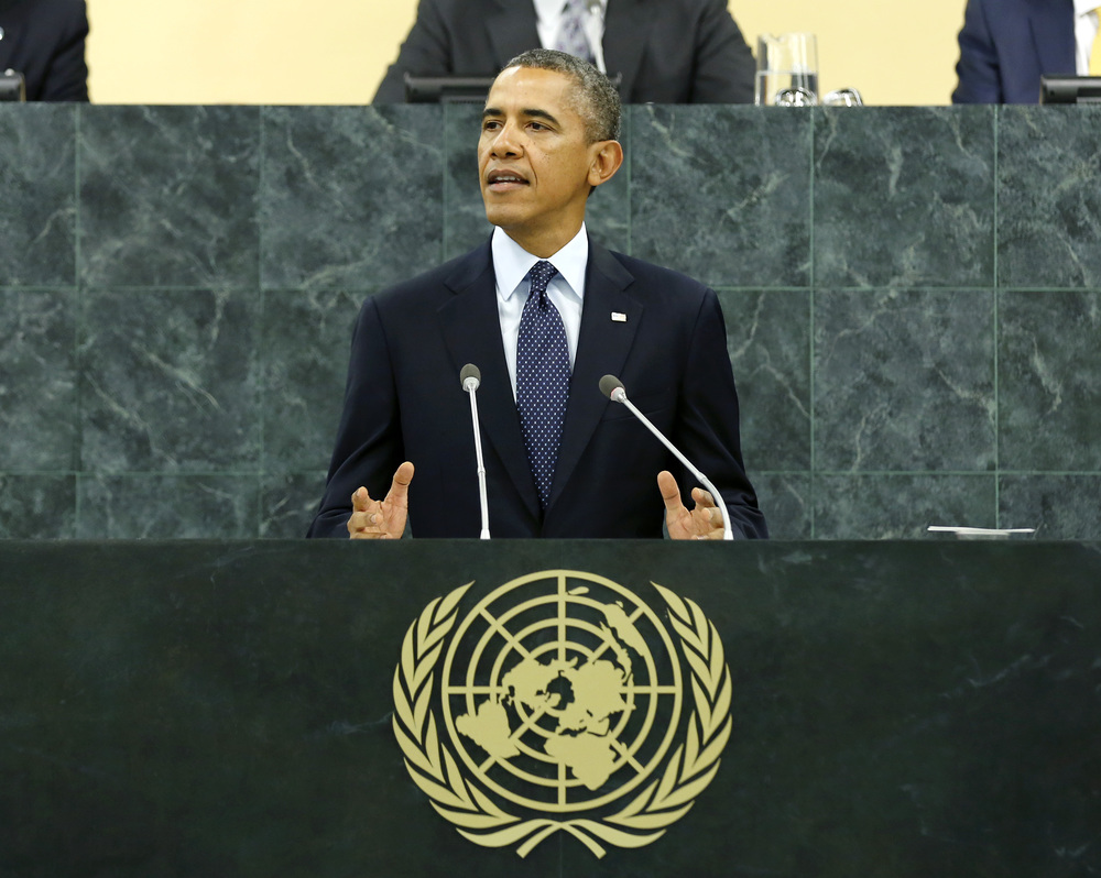 Barack Obama, President of the United States of America, addresses the general debate of the sixty-eighth session of the General Assembly on Sept. 24. Credit: UN Photo/Rick Bajornas.
