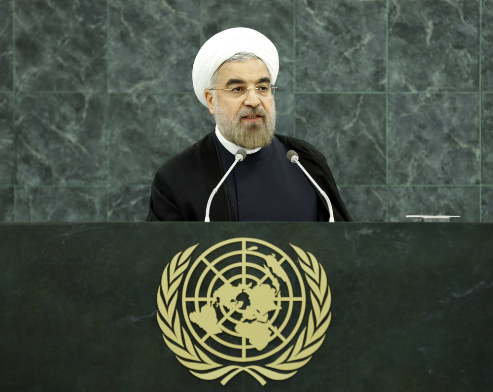 Iranian President Hassan Rouhani speaks at the U.N. General Assembly on Tuesday. Credit: UN Photo/Sarah Fretwell.