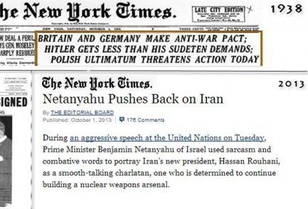 "Avigdor Lieberman, in the pictured Facebook post, juxtaposed a clipping of a 1938 New York Times headline on the failed anti-war pact between Germany and Britain with the recent New York Times editorial accusing Benjamin Netanyahu of ""sabotaging diplomacy"" with Iran. Credit: Facebook."