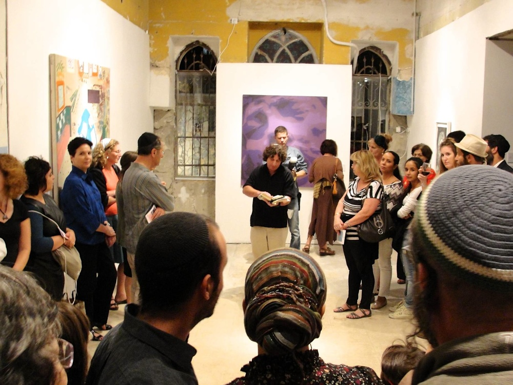 Click photo to download. Caption: The scene at the opening of the Jerusalem Biennale for contemporary Jewish art, which lasts through Oct. 31. Credit: Judy Lash Balint.